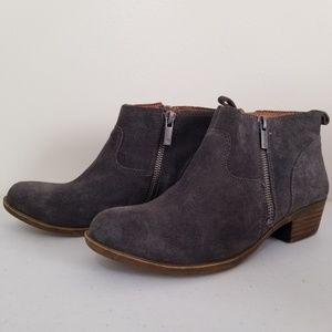 Lucky Brand Betwix Leather Suede Grey Ankle Boots